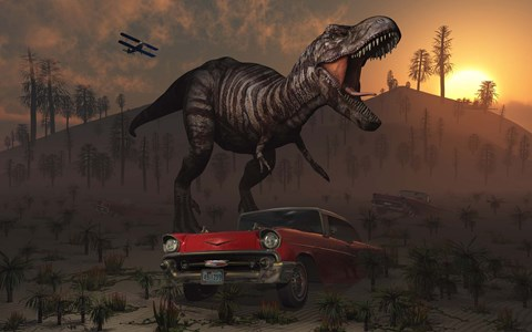 Framed Dinosaur and Classic Car Print