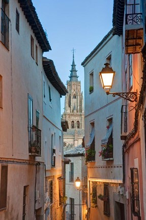 Framed Alleyway and Toledo Cathedral Steeple, Toledo, Spain Print
