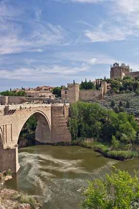 Framed St Martin's Bridge, Tagus River, Toledo, Spain Print