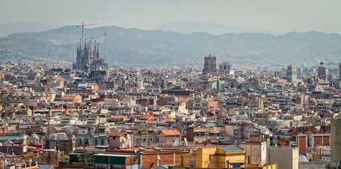 Framed Spain, Barcelona The cityscape viewed from the Palau Nacional Print