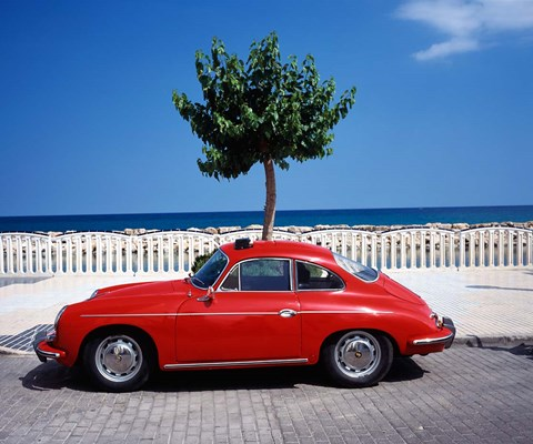 Framed Porsche 356 on the beach, Altea, Alicante, Costa Blanca, Spain Print