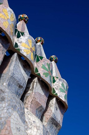 Framed Gaudi Chimney Sturctures, Casa Batllo, Barcelona, Catalonia, Spain Print