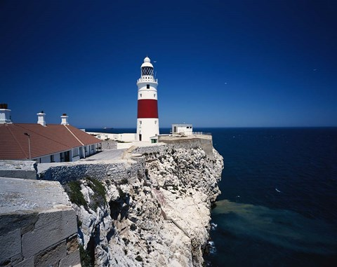 Framed Lighthouse, Europa Point, Gibraltar, Spain Print