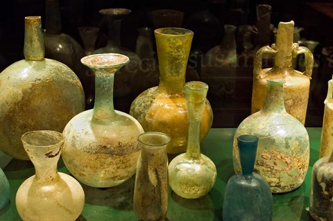 Framed Bottles and Jugs for Wine, Museo de la Cultura del Vino, Spain Print