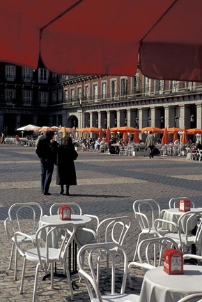Framed Cafe Tables in Plaza Mayor, Madrid, Spain Print
