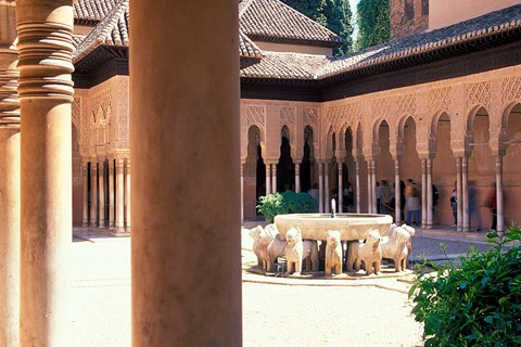 Framed Patio de los Leones in the Alhambra, Granada, Spain Print