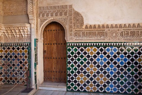 Framed Spain, Andalusia, Alhambra Ornate door and tile of Nazrid Palace Print