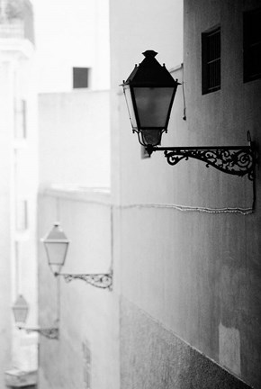 Framed Streelights, Palma, Mallorca, Spain Print