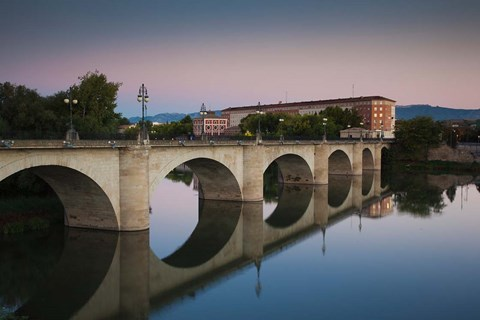 Framed Spain, Puente de Piedra bridge, Ebro River Print
