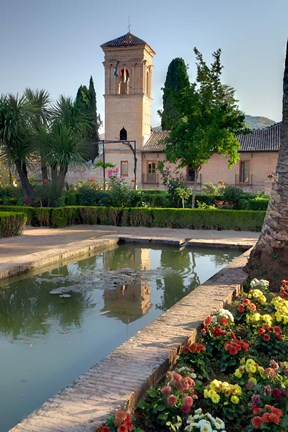 Framed Generalife Gardens in the Alhambra grounds, Granada, Spain Print