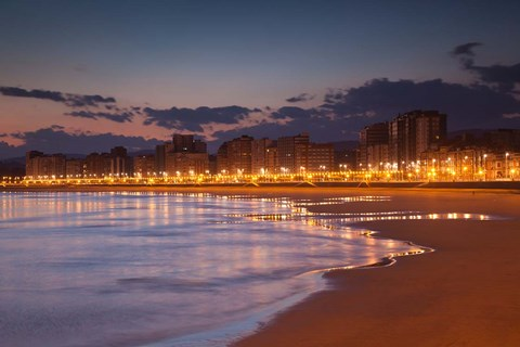 Framed Buildings On Playa de San Lorenzo Beach, Gijon, Spain Print