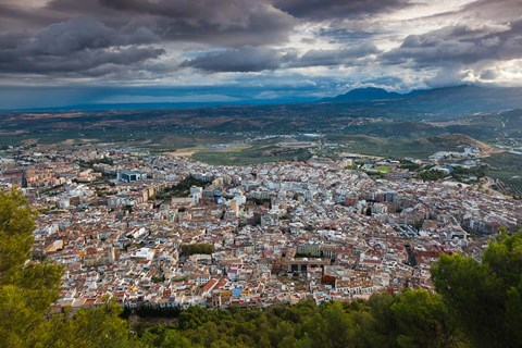 Framed City View From Cerro de Santa Catalina, Jaen, Spain Print