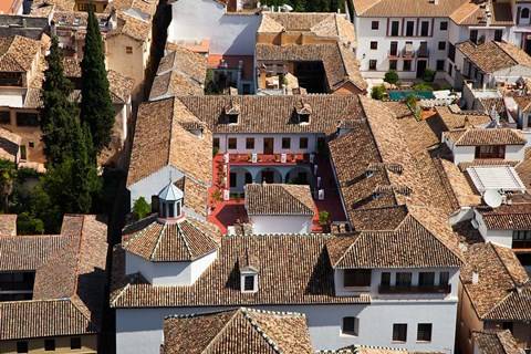 Framed Rooftops of the town of Granada seen from the Alhambra, Spain Print