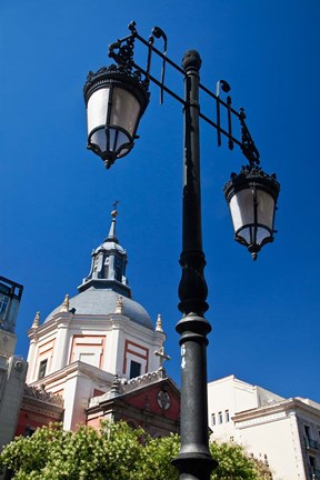 Framed Spain, Madrid Lamppost and the dome of the Las Calatravas Church Print