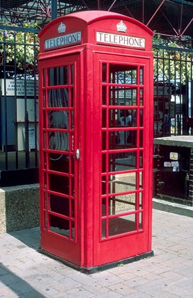 Framed Red Telephone Booth, London, England Print
