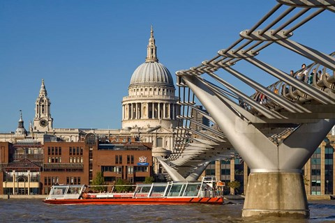 Framed Millennium Bridge, St Pauls Cathedral, London, England Print