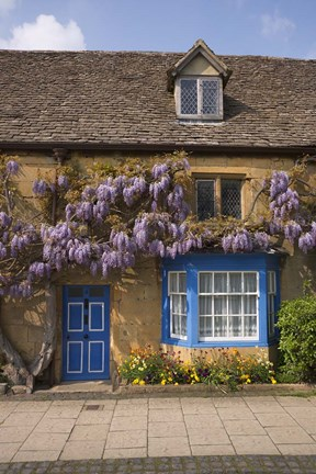 Framed Wisteria Covered Cottage, Broadway, Cotswolds, England Print