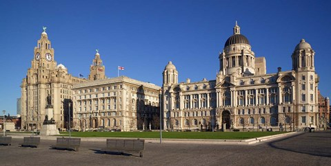 Framed Liver, Cunard, and Port of Liverpool Buildings, Liverpool, Merseyside, England Print