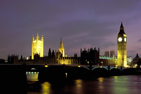 Framed Big Ben and the Houses of Parliament at Night, London, England Print