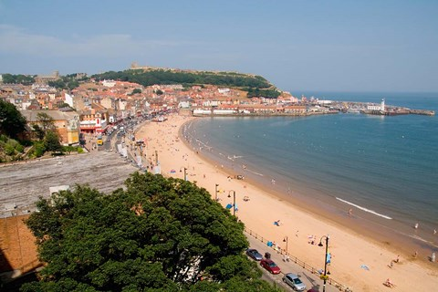 Framed Aerial of Beach, Scarborough, North Yorkshire, England Print