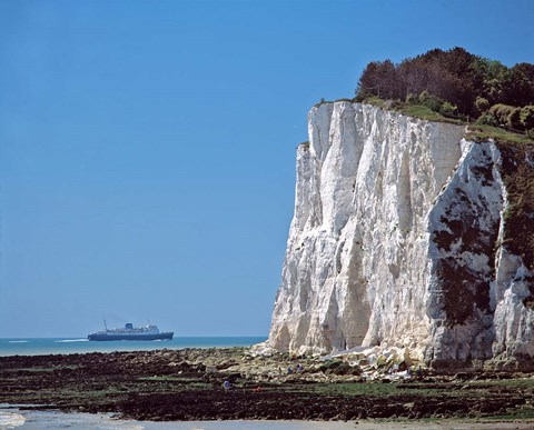 Framed England, County Kent, White Cliffs of Dover, Ship Print