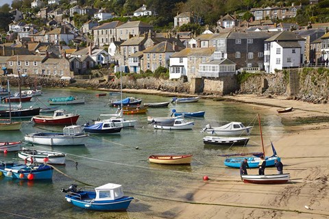 Framed Boats in Mousehole Harbour, near Penzance, Cornwall, England Print
