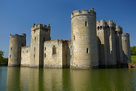 Framed Bodiam Castle (1385), reflected in moat, East Sussex, England Print