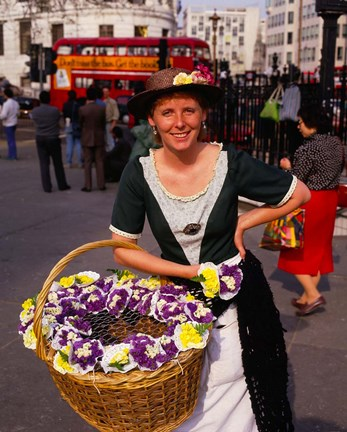 Framed Flower Vendor, London, England Print