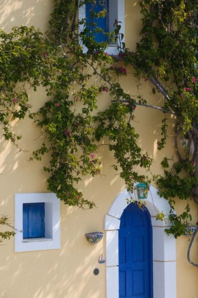 Framed Detail of Pastel Colored Condo, Assos, Kefalonia, Ionian Islands, Greece Print