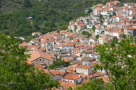 Framed Hillside Town View, Agiasos, Lesvos, Mytilini, Aegean Islands, Greece Print