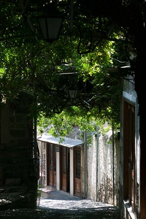 Framed Shaded Shopping Street, Lesvos, Mithymna, Northeastern Aegean Islands, Greece Print