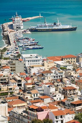 Framed Town and Port, Zakynthos, Ionian Islands, Greece Print