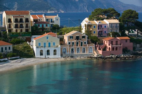 Framed Waterfront Resort Houses, Assos, Kefalonia, Ionian Islands, Greece Print