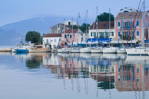Framed Yacht Harbor, Fiskardo, Kefalonia, Ionian Islands, Greece Print