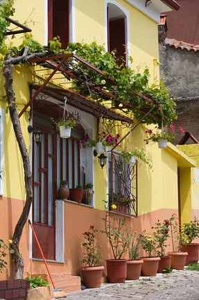 Framed Yellow House, Agiasos, Lesvos, Mytilini, Aegean Islands, Greece Print