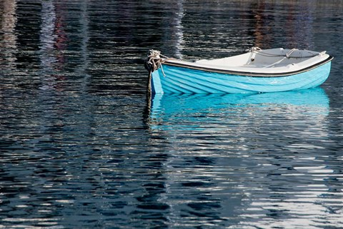 Framed Greece, Cyclades, Mykonos, Hora Blue Fishing Boat with Reflection Print