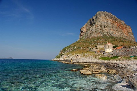 Framed Greece, Peloponnese, Rock of Monemvasia Print