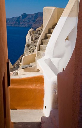 Framed Stairways and Old Cathedral, Oia, Santorini, Greece Print