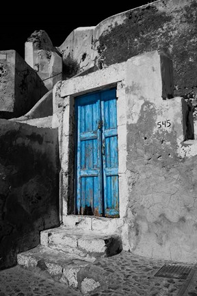 Framed Colorful Blue Door, Oia, Santorini, Greece Print