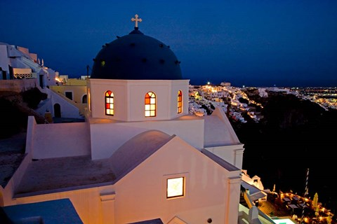 Framed Evening Light on Church, Imerovigli, Santorini, Greece Print