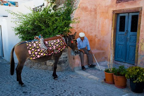 Framed Resting Elderly Gentleman, Oia, Santorini, Greece Print