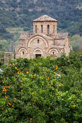 Framed Byzantine church near Fodele, Grove of orange trees and Church of the Panayia, Crete, Greece Print