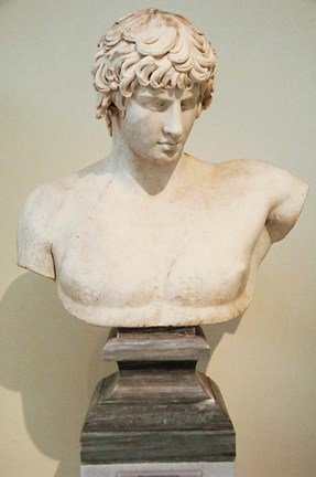 Framed Antinous Bust, Statue, Athens, Greece Print