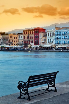 Framed Chania at dusk, Chania, Crete, Greece Print