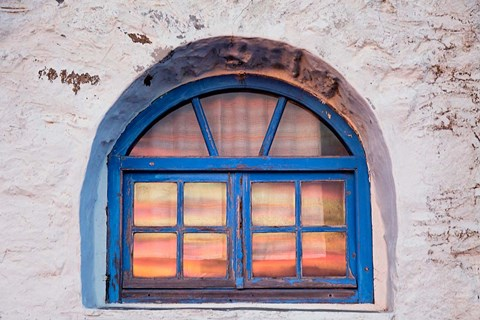 Framed Window with sunset reflection, Mykonos, Greece Print