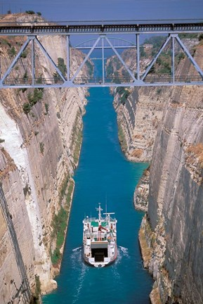 Framed View of Corinth Canal, Corinthia, Corinth, Peloponnese, Greece Print