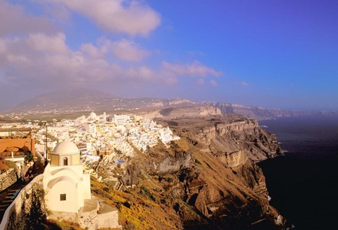 Framed Late Afternoon View of Town, Thira, Santorini, Cyclades Islands, Greece Print