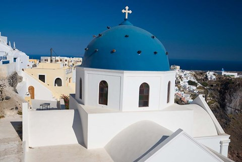Framed Blue Domed Church, Imerovigli, Santorini, Greece Print