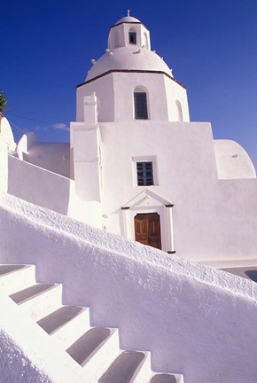 Framed White Architecture, Santorini, Greece Print
