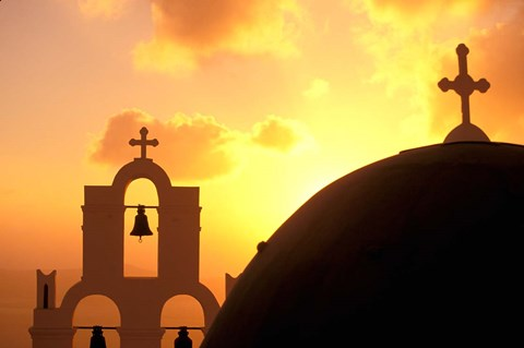 Framed Kimisis Theotokov Church at Sunset, Thira, Santorini, Cyclades Islands, Greece Print